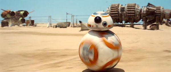 A 'soccer-ball droid' that presumably belongs to 'Kira' (played by Daisy Ridley) is on the prowl in STAR WARS: THE FORCE AWAKENS.