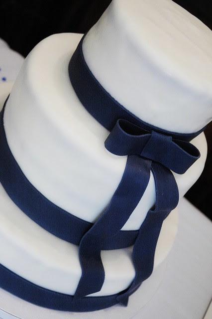 Wedding Cake with navy fondant ribbon