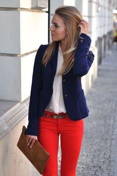 blazer & red skinny jeans