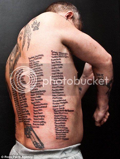 Shaun Clark mentatto tubuhnya dengan 223 nama teman serdadu Inggris yang gugur di Afghanistan