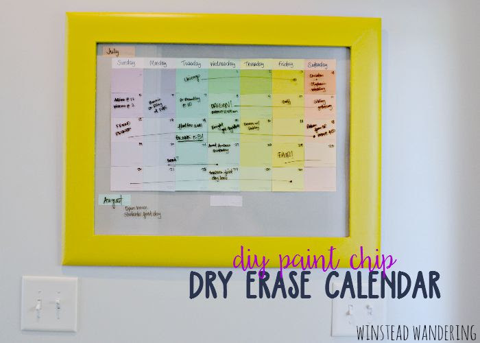 Diy Paint Chip Dry Erase Calendar