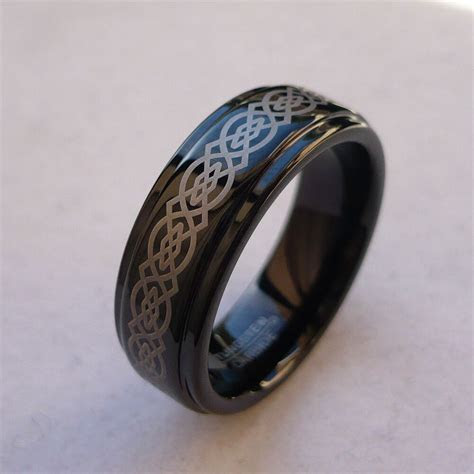 7mm TUNGSTEN CARBIDE CELTIC KNOT BLACK FINISH MEN'S