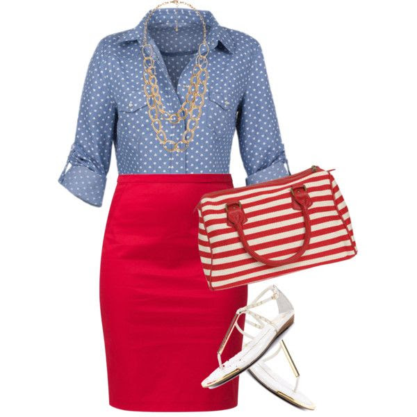 Red, White, & Blue, created by karrina-renee-krueger on Polyvore