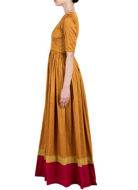 truebrowns golden gathered straight dress shop dresses
