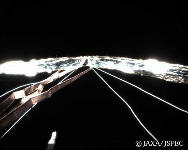 IKAROS' solar sail as seen from monitoring camera #2.