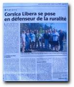 Article du 3 août 2009 : réaction de Corsica Libera après l'incendie d'Aullène