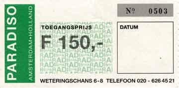 Velvet Underground ticket June 8 1993 Paradiso, Amsterdam, The Netherlands