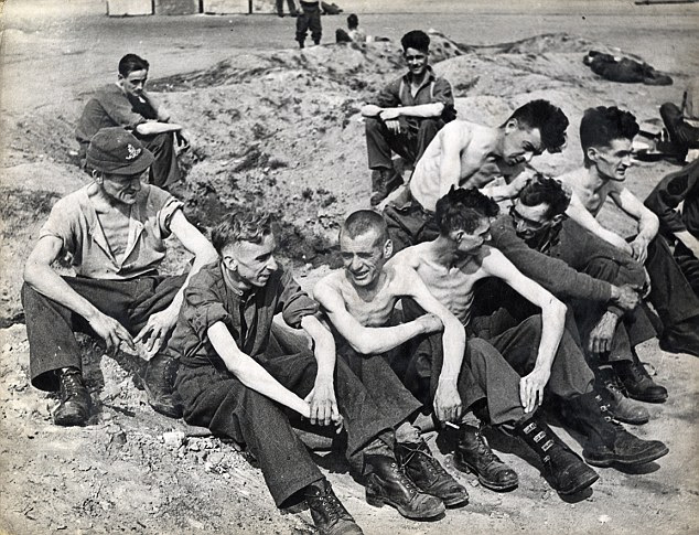 Starved: Emaciated allied prisoners of war are released at Belsen after their colleagues stormed the camp