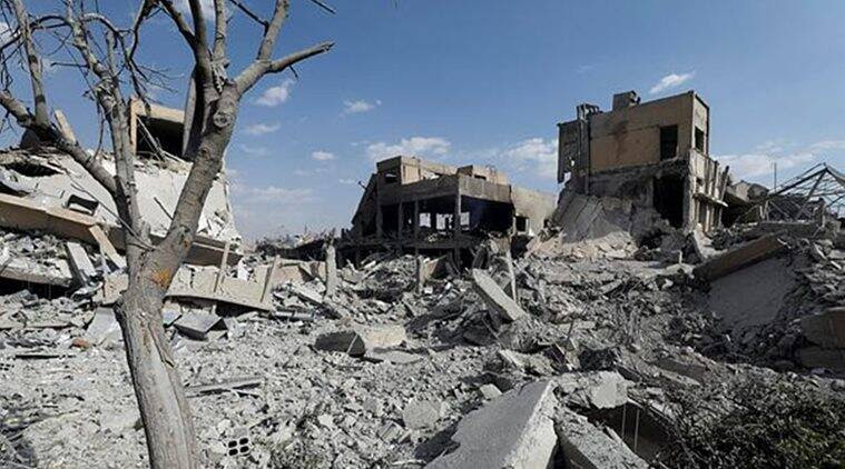 The destroyed Scientific Research Centre in Damascus, Syria. (Reuters)