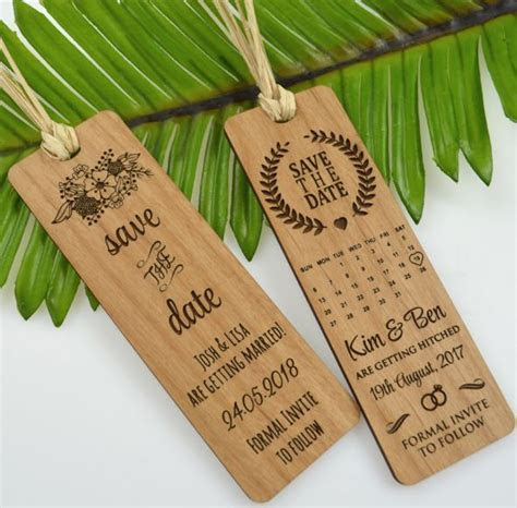 Wooden Engraved Save The Date Laser Cut Bookmark   Save