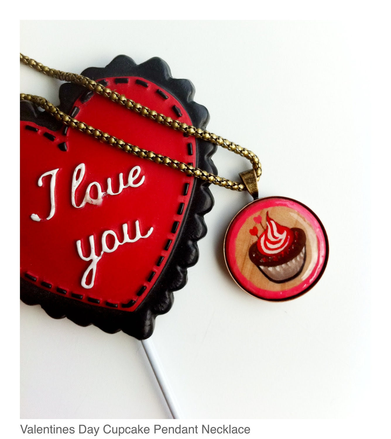 Cupcake Pendant, Valentines Day, Happy Art, Hand Painted, Miniature Painting, Kawaii Jewelry, Pink, Red, Wood and Metal, Bronze, FREE SHIP