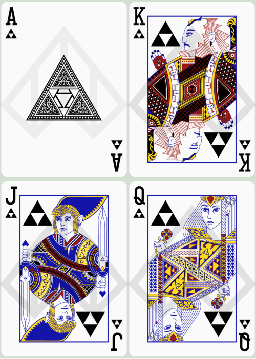 koldunkisloty:  Zelda Poker Cards: Ace, King, Queen and Jack of Triforce // By: Nelde