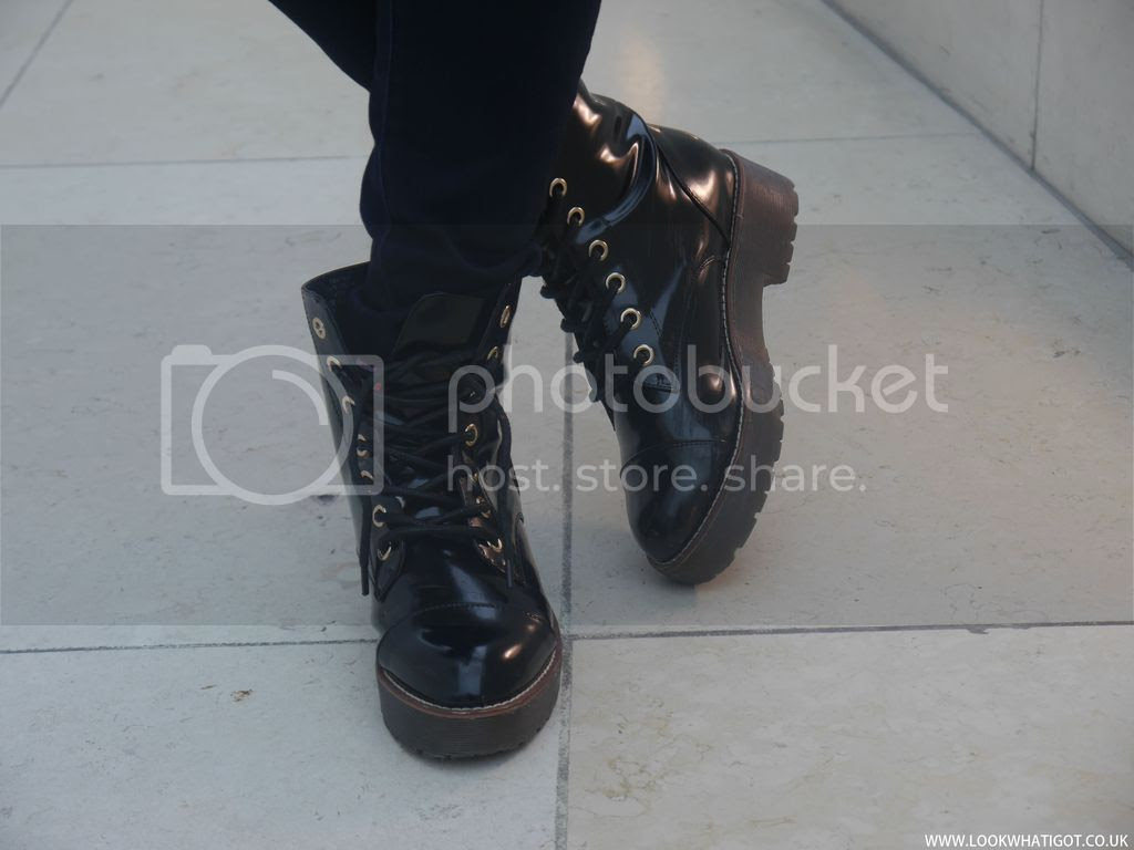 RIVER ISLAND BLACK PATENT LACE UP BOOTS