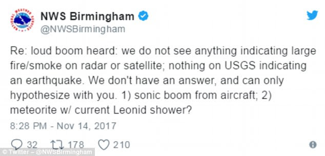 The Birmingham National Weather Service tweeted: 'Loud boom heard: we do not see anything indicating large fire/smoke on radar or satellite; nothing on USGS indicating an earthquake'