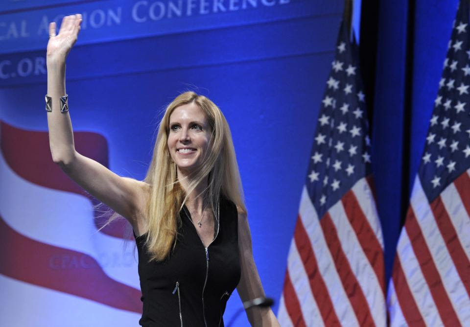 FILE - In this Feb. 12, 2011 file photo, Ann Coulter waves to the audience after speaking at the Conservative Political Action Conference (CPAC) in...