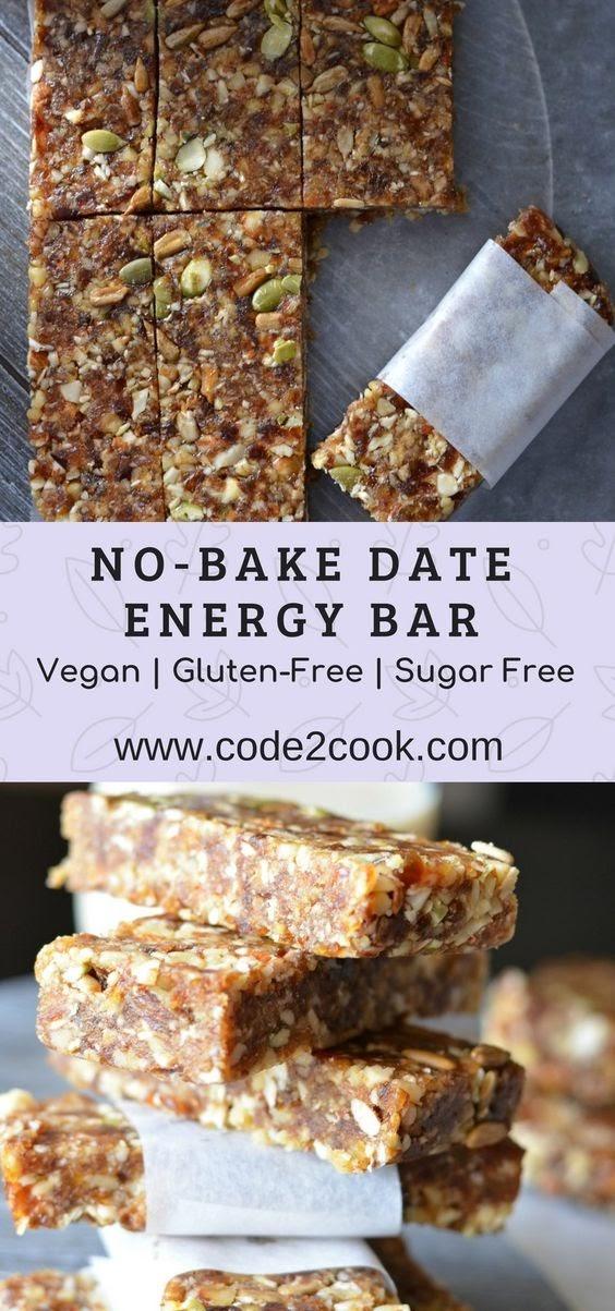 No-Bake Date Energy Bar | Healthy Vegan And Gluten Free