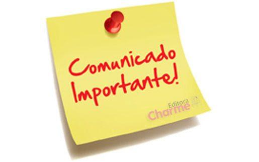 Comunicado Bienal do Livro SP - Editora Charme