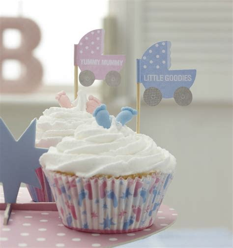 20 CUPCAKE BUN FLAG Table Decoration for Baby Shower