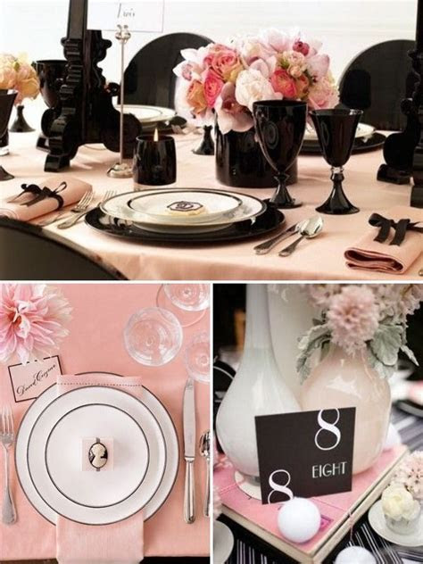 peach and black bridal shower table settings   Everything