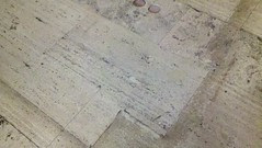 Scars on the floor where the wretched Allen box office used to stand