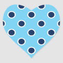 Navy Blue Polka Dots on Sky Blue Stickers
