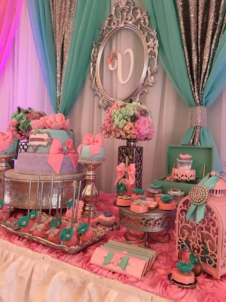 Teal And Pink Modern Chic Baby Shower Baby Shower Ideas Themes