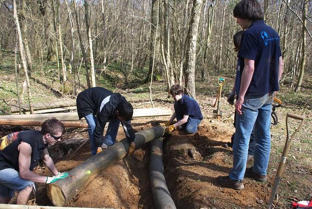 DSC_3718 Building a log bridge