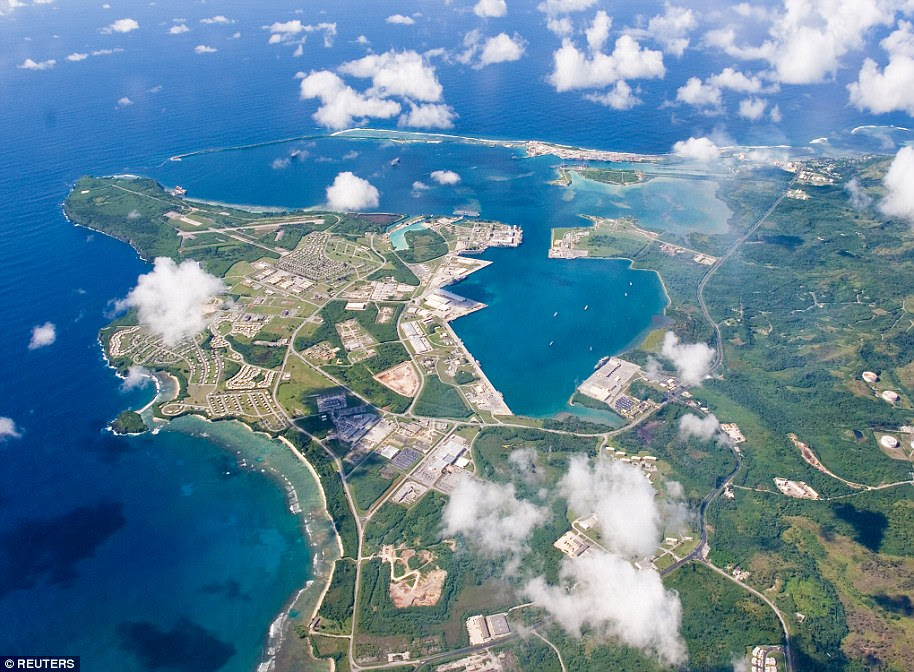Naval Base Guam (file above) is located on the southwest side of the island. About one-third of the 210-square-mile island is occupied by the military