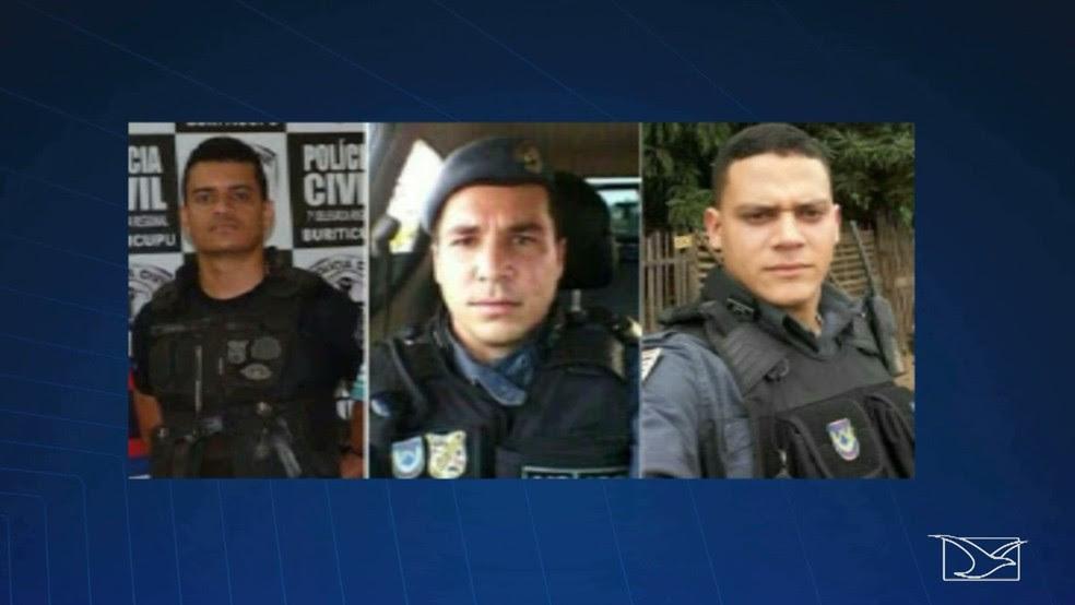 Tenente Josuel Alves de Aguiar (esquerda) e os soldados Tiago Viana Gonçalves e Gladstone de Sousa são suspeitos de praticar o assassinato dos policiais. (Foto: Reprodução/TV Mirante)
