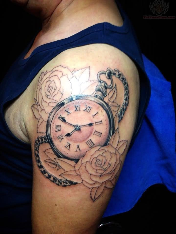 Outline Roses And Clock Tattoo On Shoulder