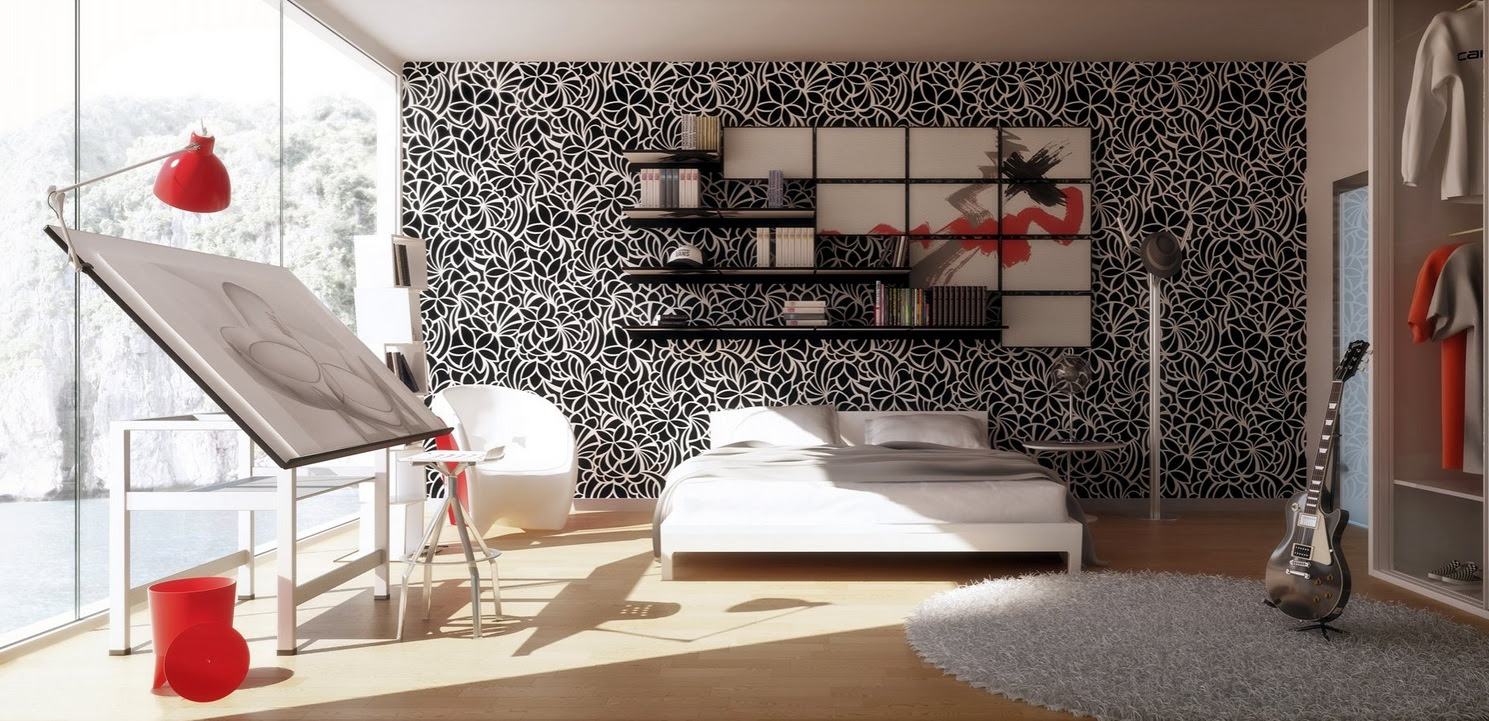 Black White Red Bedroom Art Studio Interior Design Ideas