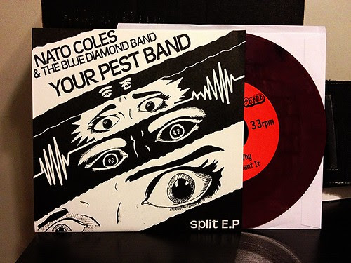 "Your Pest Band / Nato Coles & The Blue Diamond Band - Split 7"" - Maroon Vinyl by Tim PopKid"