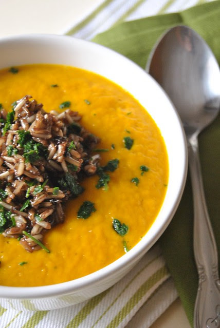 Cream of pumpkin and leek soup