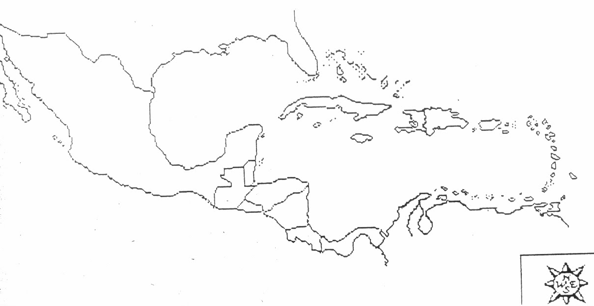 This is a photo of Invaluable Printable Map of the Caribbean