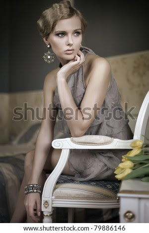 Young blonde beauty - stock photo