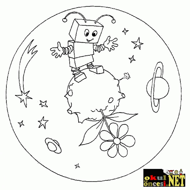 Yeni Okul öncesi Uzay Ve Gökyüzü Boyama Yazdırılabilir Boyama