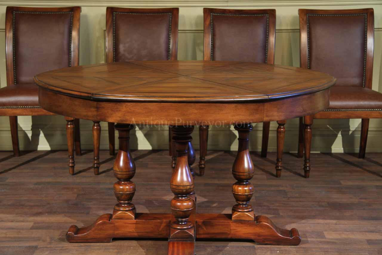 Large round solid walnut dining table with hidden leaves ...