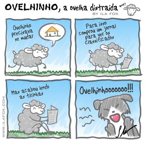Ovelhinho comprou jornal para ver os classificados, quadrinhos by ila fox
