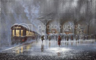 Rowland Train Station in the Rain