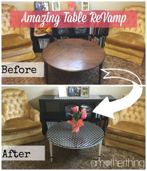 Amazing $5 Table ReVamp Using Mod Podge and Wrapping Paper - It's A Mother Thing - HMLP 102 - Feature