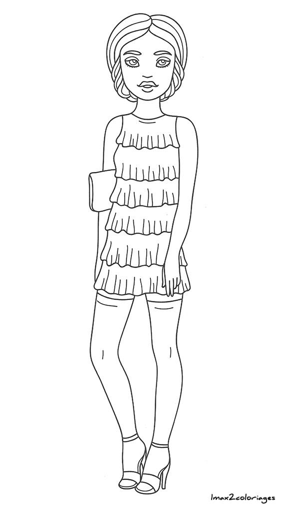 Amuses Toi à Colorier Ces Filles à La Mode La Mode Fille Coloriage