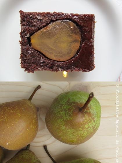 Upside down pear chocolate cake