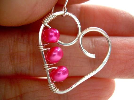 Wire Wrapped Jewelry Handmade Silver Heart Earrings Wire Heart Earrings Pink Freshwater Pearls Wire Wrapped Heart Earrings Clip On Available
