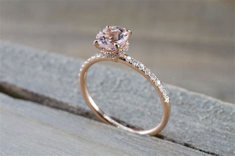14k Rose Gold Dainty Round Morganite Round Cut Diamonds