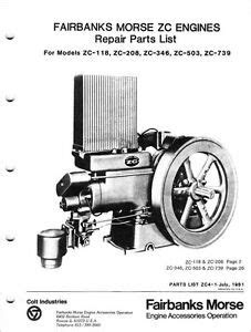 Fairbanks Morse Repair Parts List for Engines ZC 118 ZC
