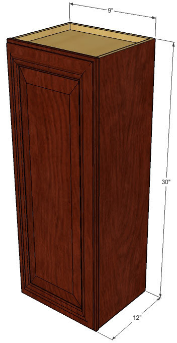 Small Single Door Brandywine Maple Wall Cabinet - 9 Inch ...