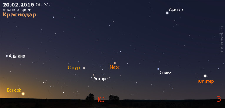 Венера, Сатурн, Марс и Юпитер на утреннем небе Краснодара 20 февраля 2016 г.
