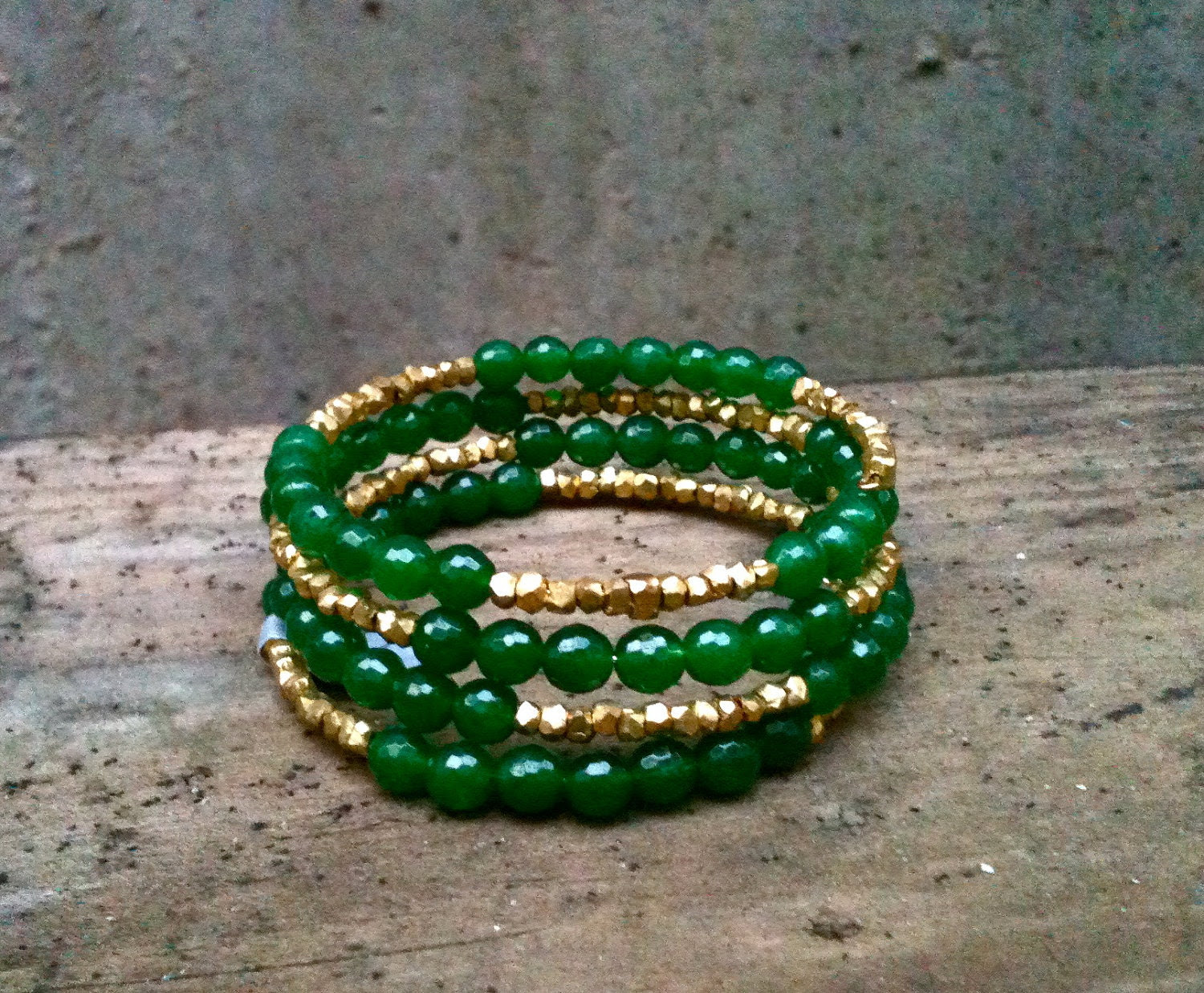 Jade Wrap Bracelet / Green & Gold