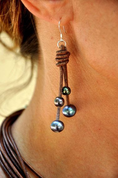 pearls and leather earrings