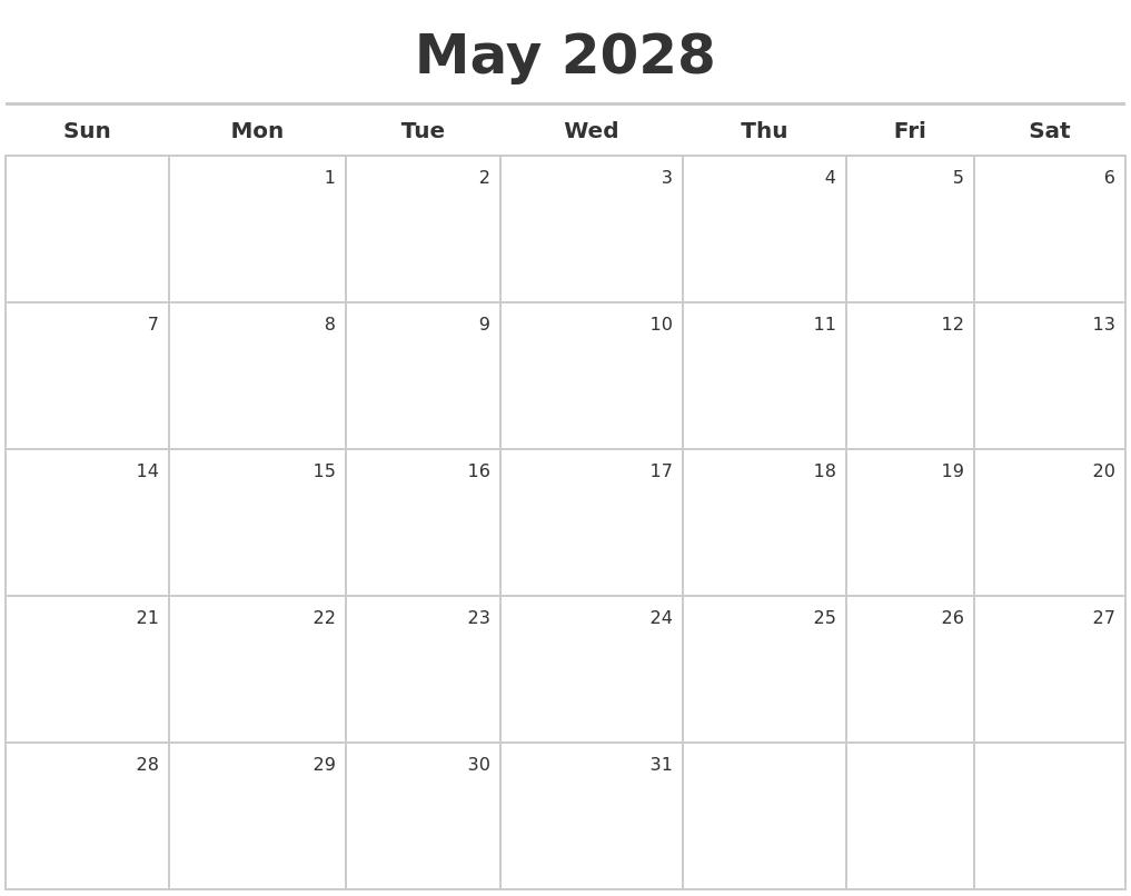 may 2028 calendar maker